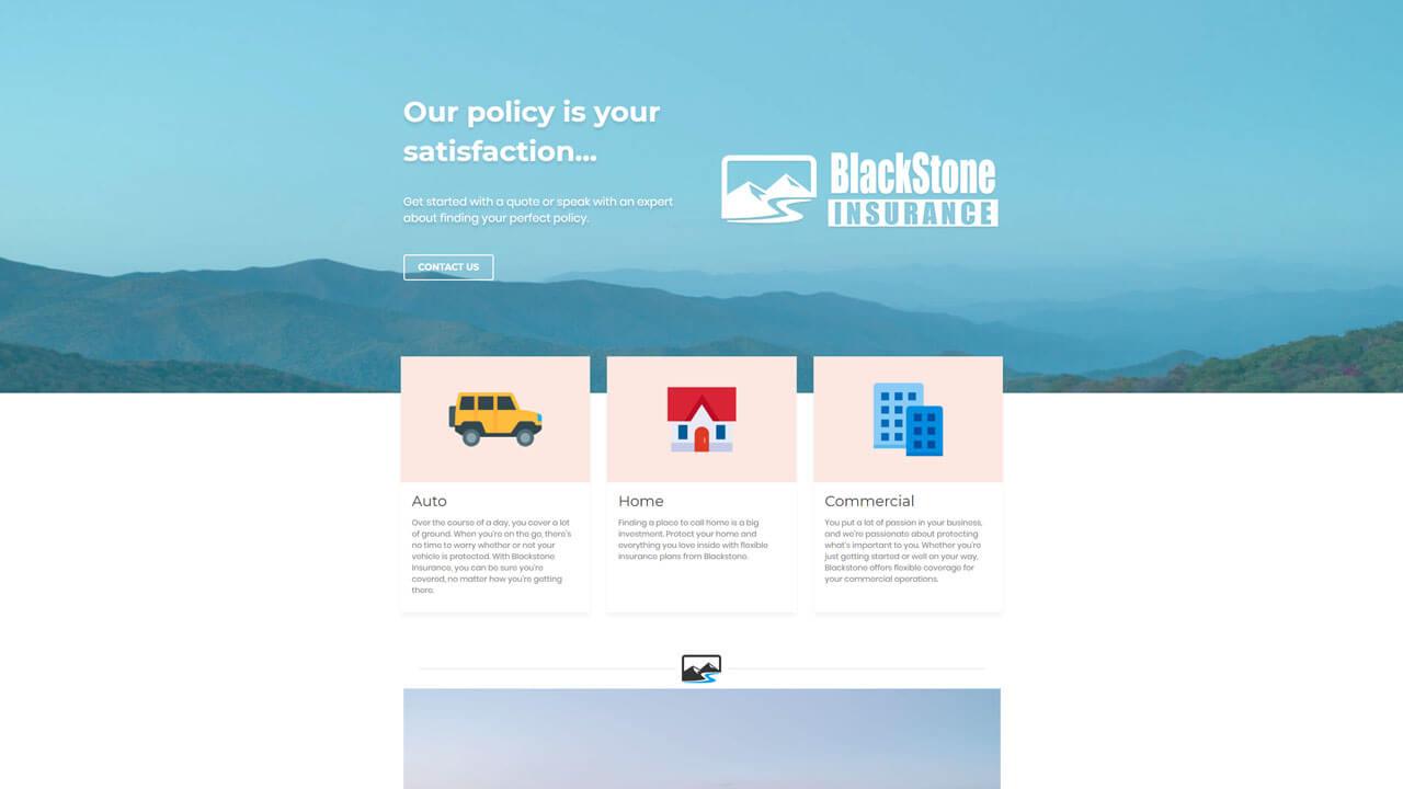 Blackstone Insurance website design