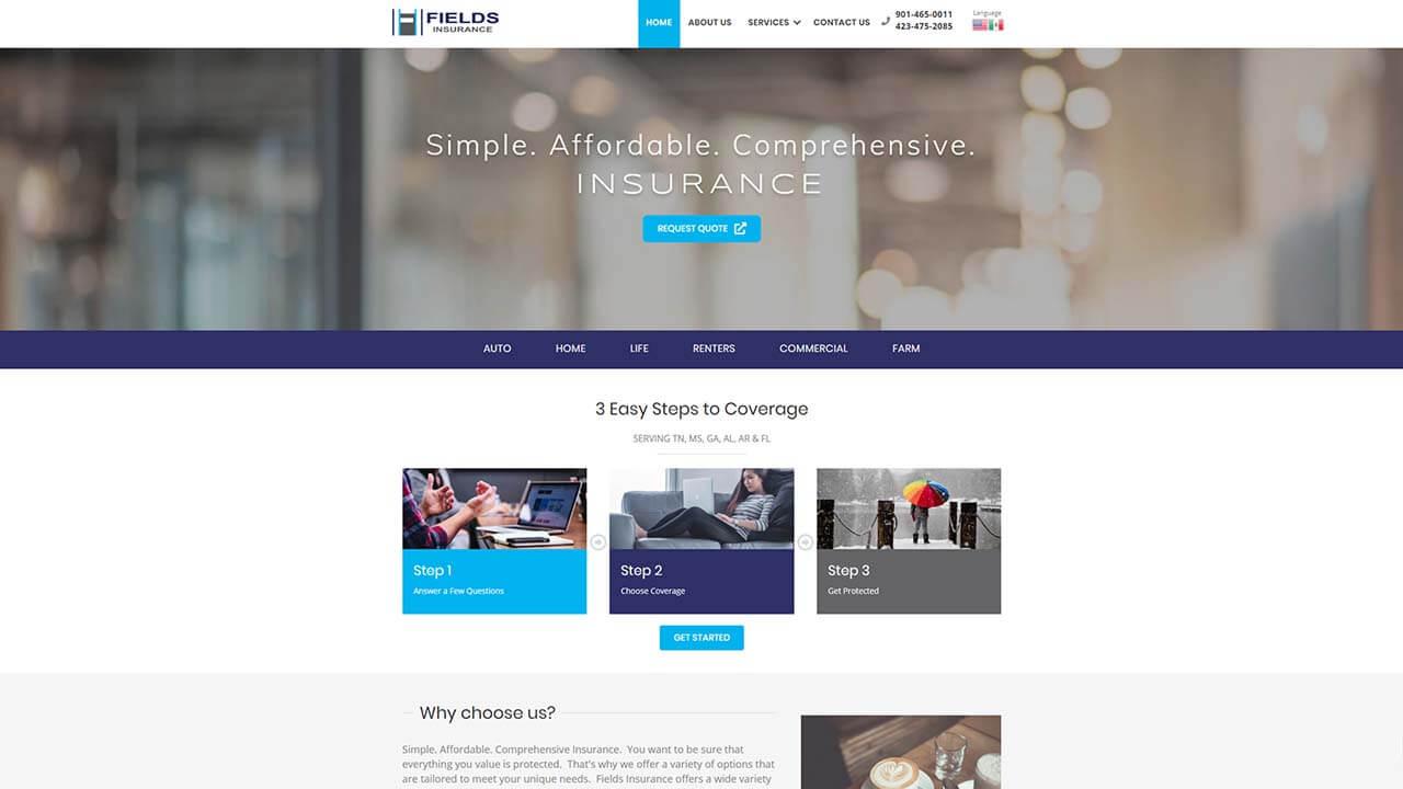 Fields Insurance website design