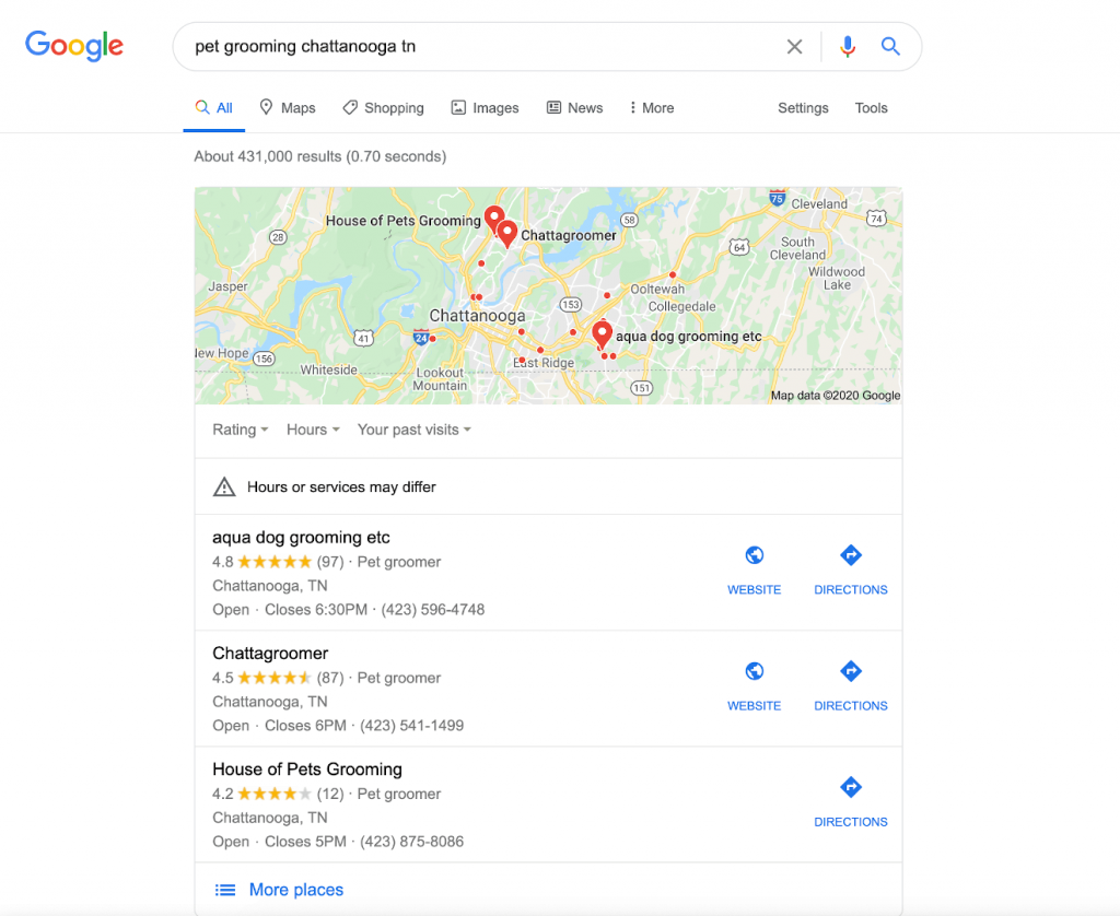 "Google's ""Local Pack"" search engine results for the keyword ""pet grooming chattanooga tn"""